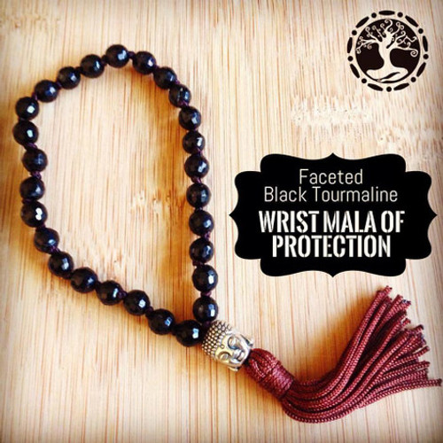 BLACK TOURMALINE (Faceted) Wrist Mala