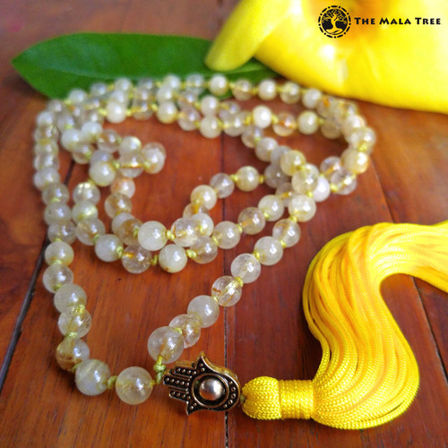 GOLD RUTILATED QUARTZ  WITH GOLD & HAMSA Bespangled 108 Mala