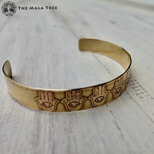 HAMSA Brass Healing Bangle (Handmade)