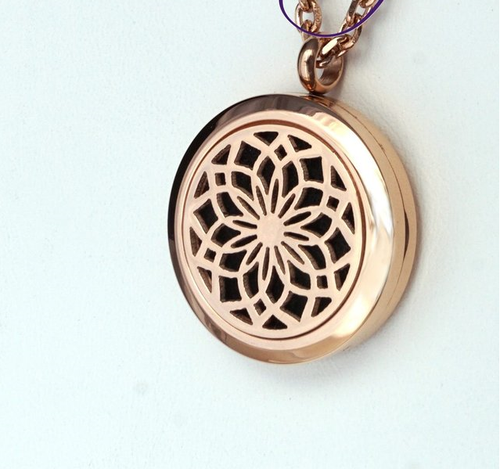 Rose Gold Toned Lotus Flower Diffusing Necklace 25mm