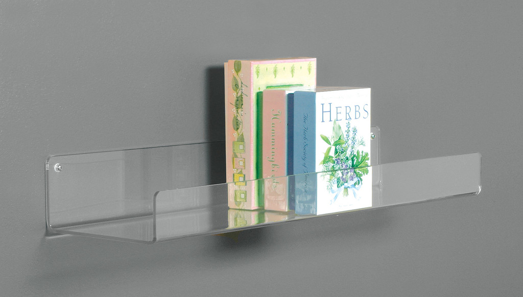 Clear acrylic flat bottomed shelf for wall mounting.