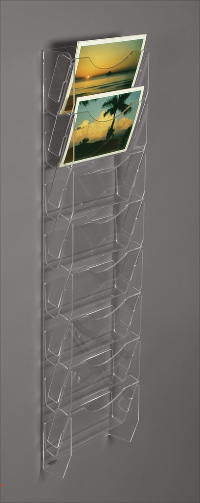 Clear acrylic wall mounted postcard/ greeting card rack with eight pockets.