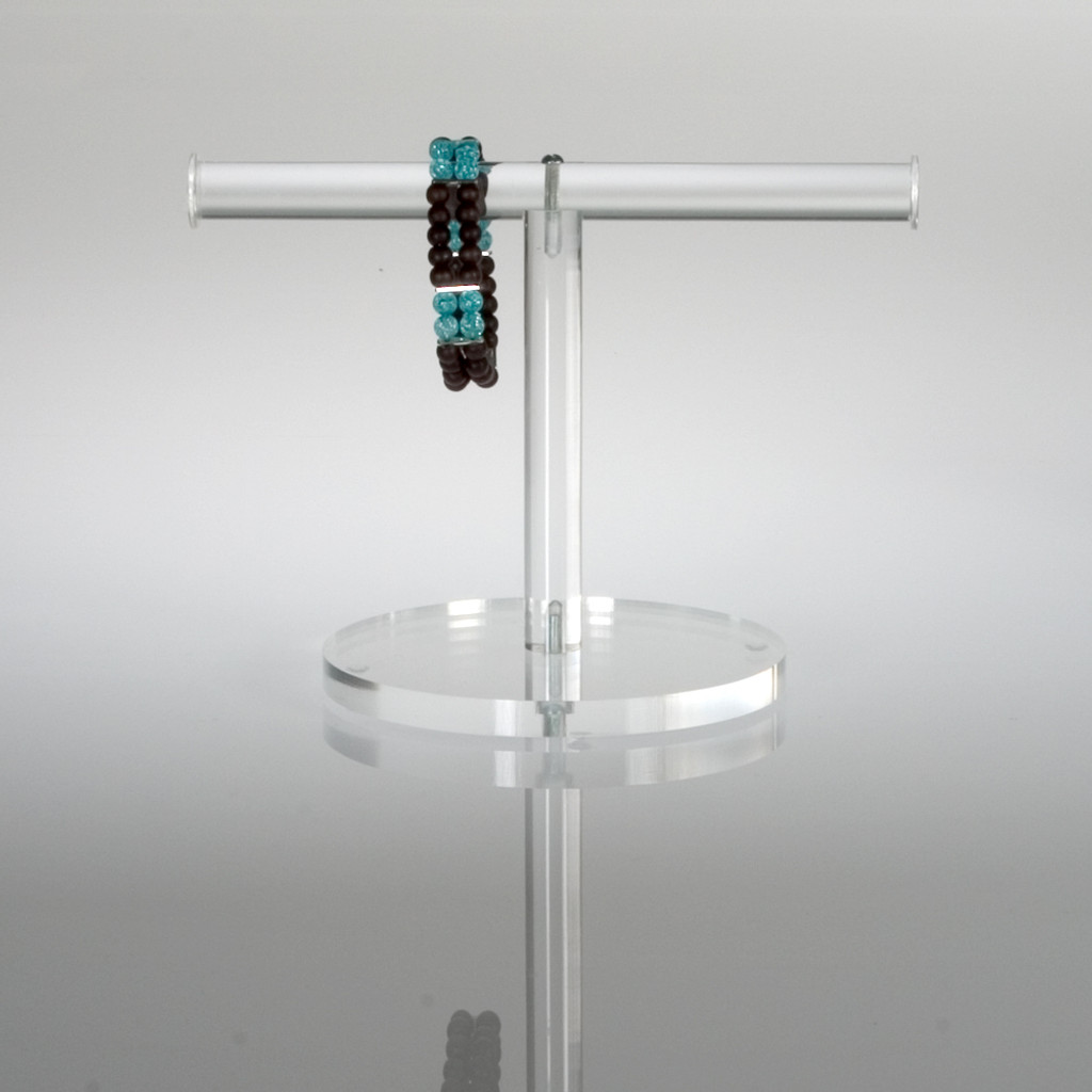 Clear acrylic small T-Bar stand for jewelry display.