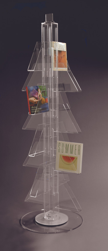 Acrylic floor spinner for magazines, large books, and calendar retail display.