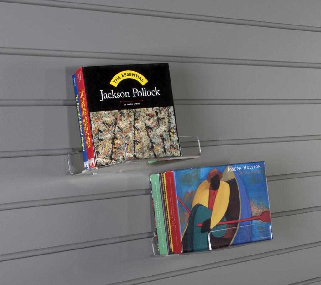 Clear acrylic single facing retail shelf with lip for slatwall.