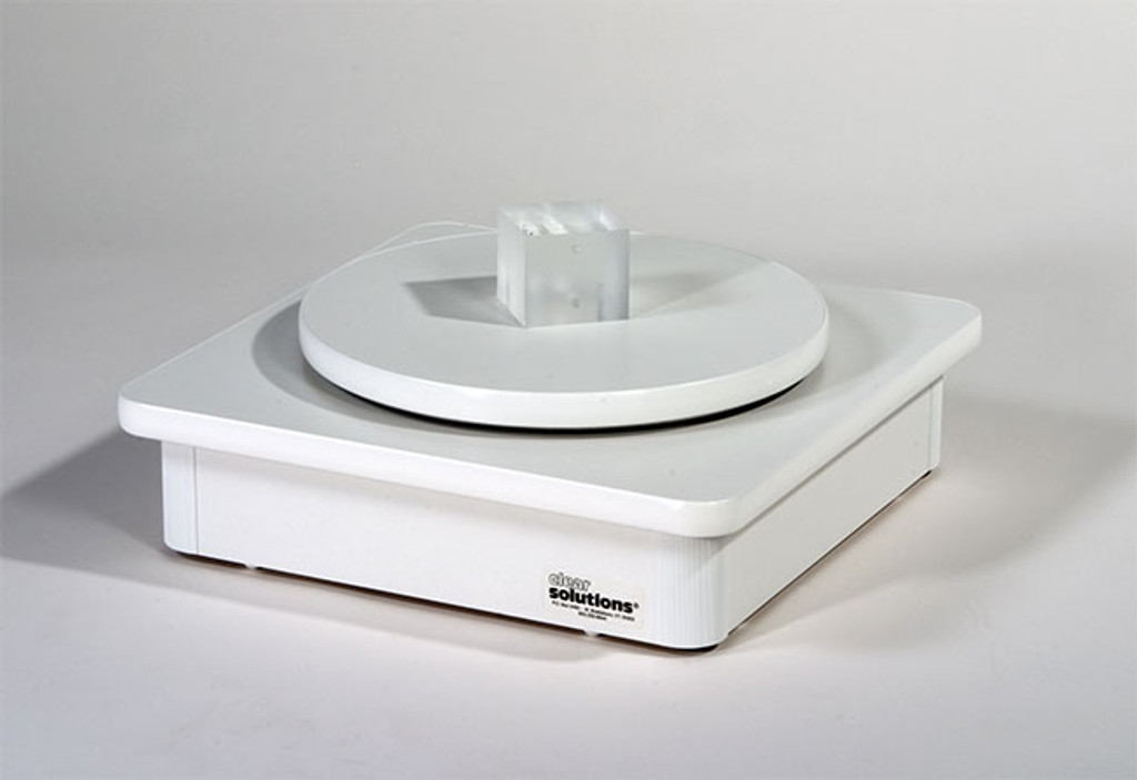 Heavy white laminate floor spinner base fits any Clear Solutions floor spinner and adds extra stability and height.