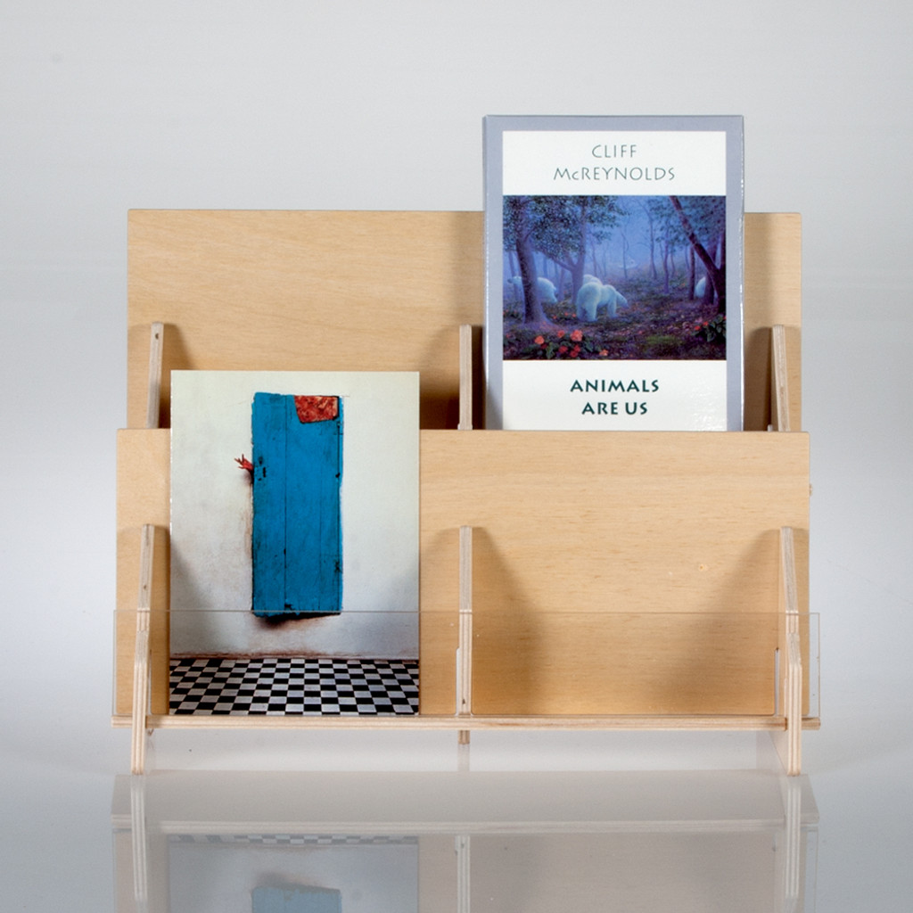 Tiered countertop greeting card rack in birch pywood clear solutions 2 tier plywood greeting card rack m4hsunfo