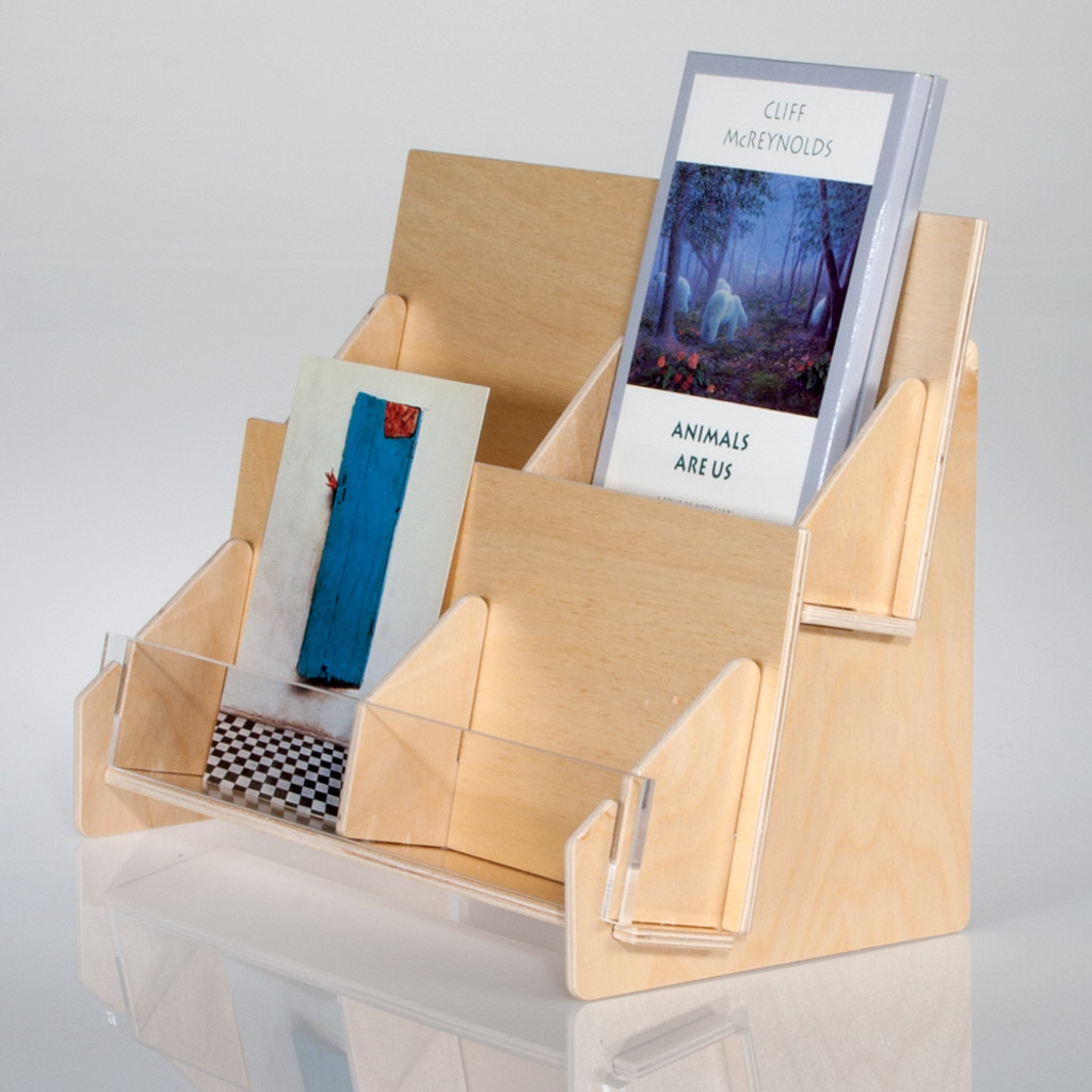 Tiered Countertop Greeting Card Rack In Birch Pywood
