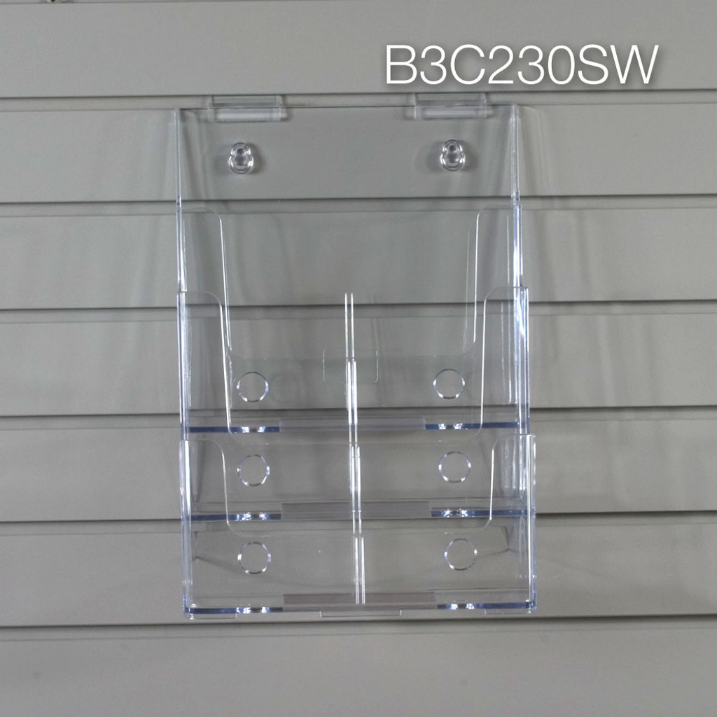 Clear acrylic three tier brochure holder for slatwall