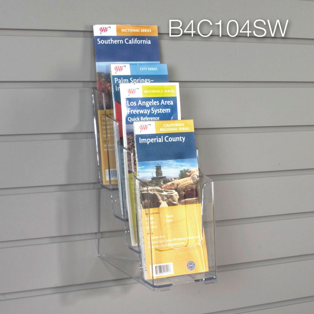 Clear acrylic four tier brochure holder for slatwall