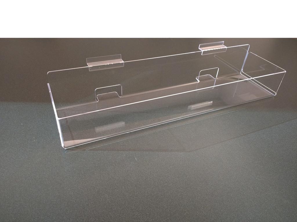 Clear acrylic enclosed slatwall shelf/bin.
