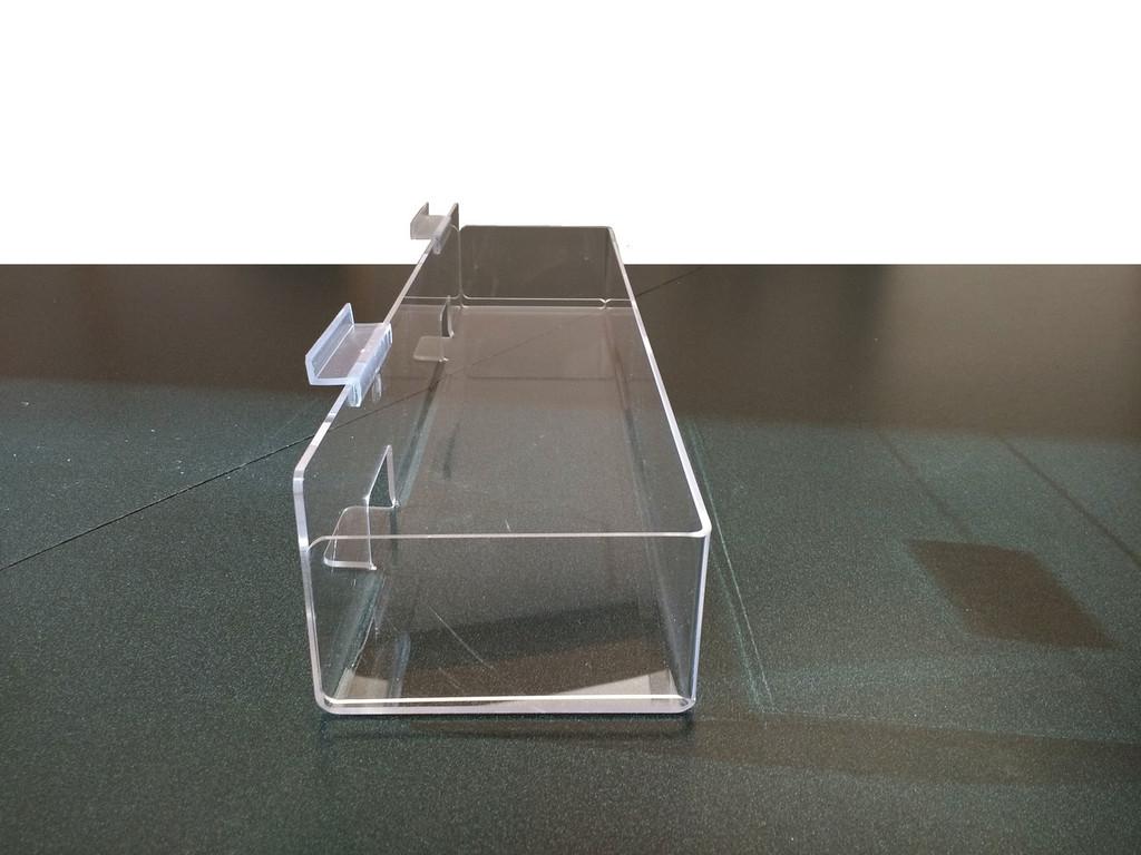"20-3/4"" Wide Multi-Use Clear Acrylic Slatwall Shelf - Back Aisle Special"