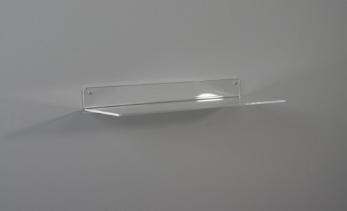 Clear acrylic retail display shelf for wall - no lip.