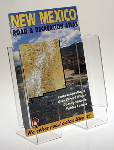 Clear Solutions - Back Aisle Specials. Large stand for magazines and atlases. Clear acrylic stand.