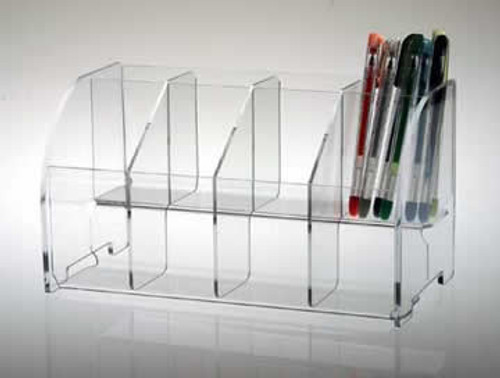Clear acrylic stand for displaying pens, pencils, bookmarks, etc.