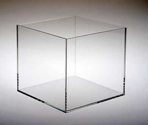 Clear acrylic five sided cubes for retail display.