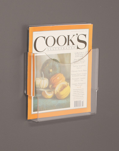 Clear acrylic wall mounted brochure holder for full sheet sized brochures and magazines.