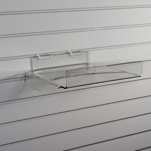 Clear acrylic shelf, braced to be extra strong, for slatwall.