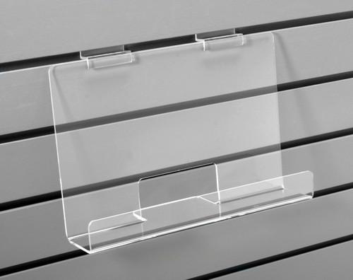 Clear acrylic long shelf for slatwall.
