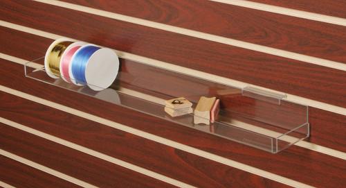 Clear acrylic multi-use shelf for slatwall.