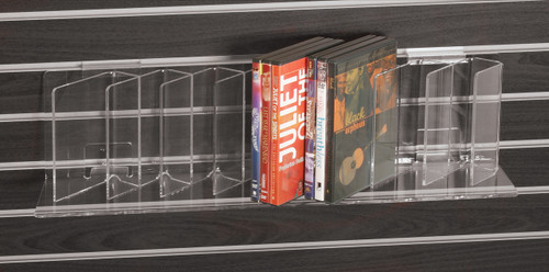 Clear acrylic shelf sized for DVDs, brochures, paperback books, etc.
