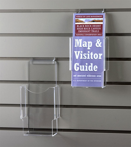 Clear acrylic tri-fold brochure for slatwall.