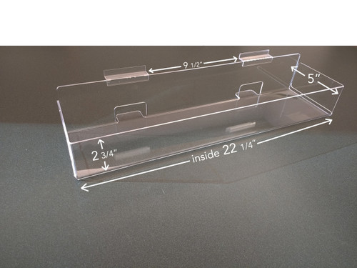 Clear acrylic enclosed slatwall shelf/bin.
