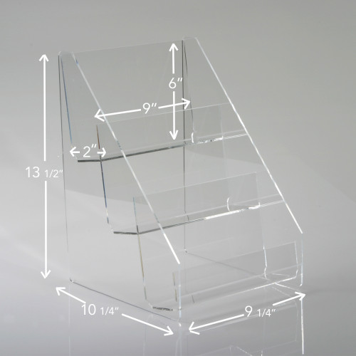"9"" Wide Three Tier Clear Acrylic Countertop Display, Clear Solutions"