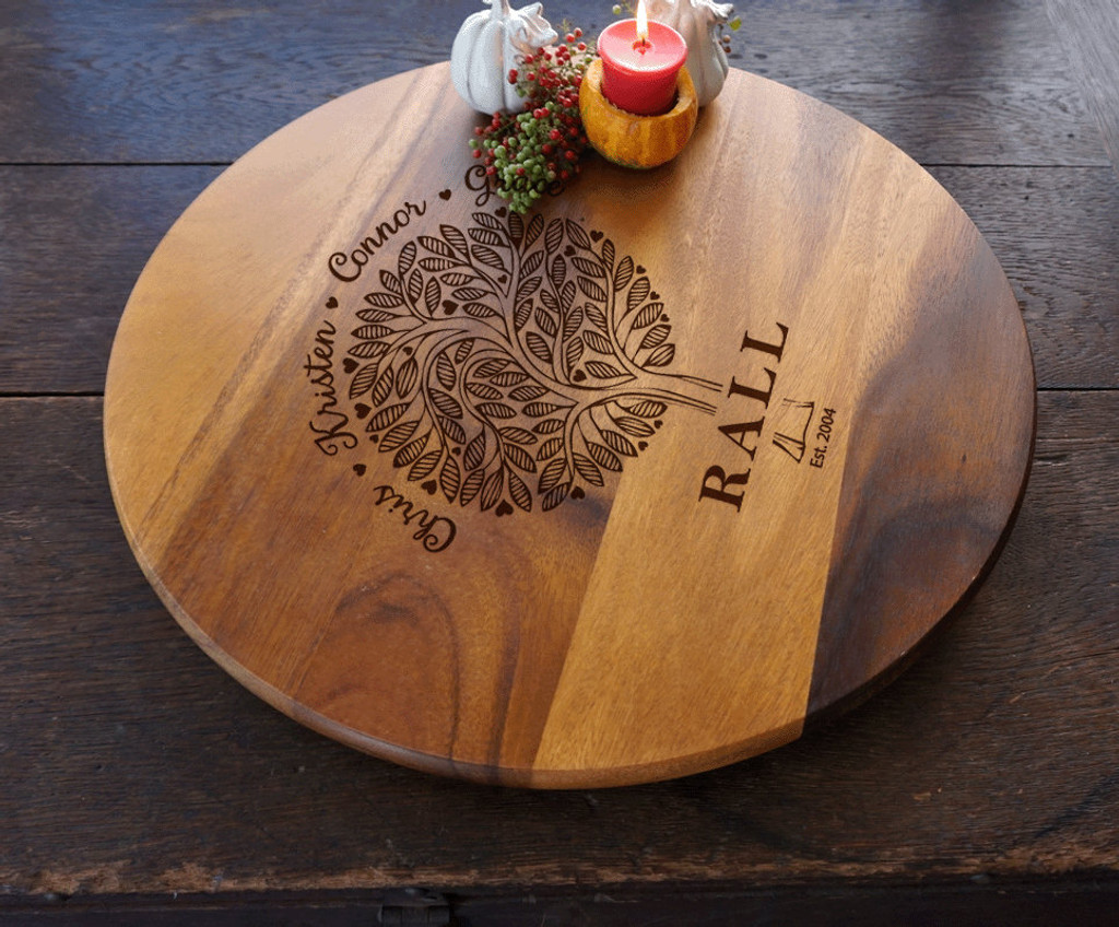 Family tree engraved custom lazy suzan by TheCuttingBoardShop