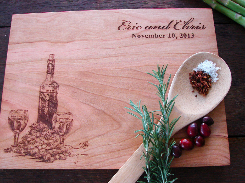 wine lovers personalized engraved cutting board from TheCuttingBoardShop