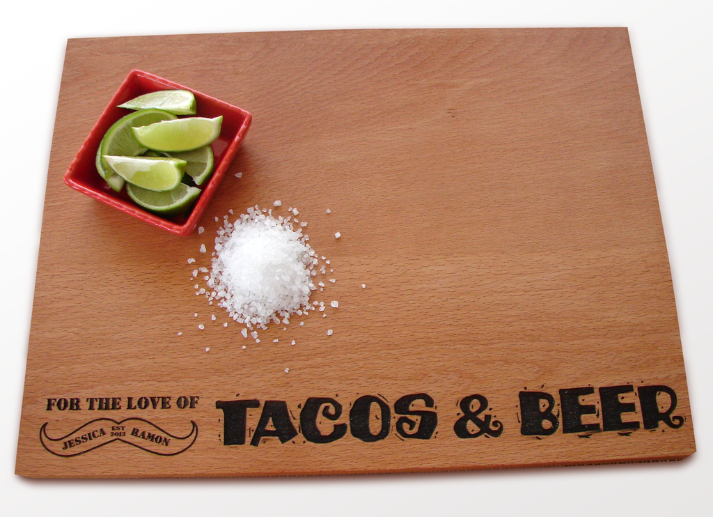 Love Tacos & Beer Cutting board by TheCuttingBoardShop