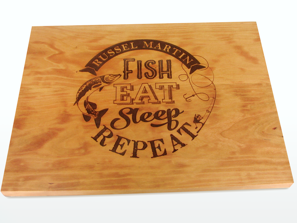 Fish Eat Sleep Repeat Cherry cutting board by TheCuttingBoardShop