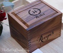 Monogram and family name engraved recipe box