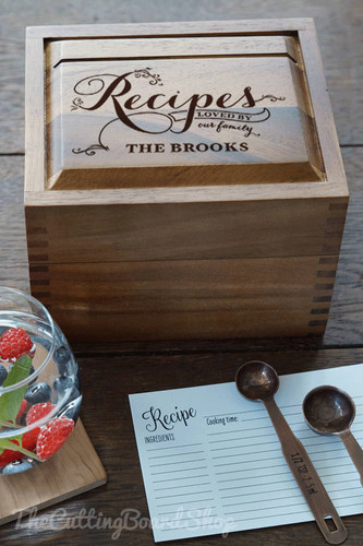 Engraved recipe box from TheCuttingBoardShop