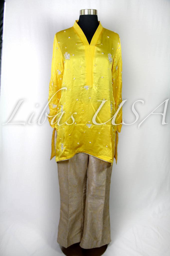 Silk Hand embroidered Shirt with Jamawar Pants