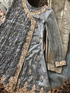 Hi Low Steel Grey Dress with Jamawar Pants