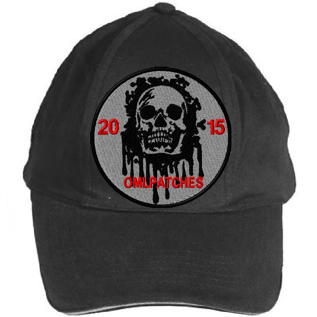 custom team morale patch blood skull on an OD hat