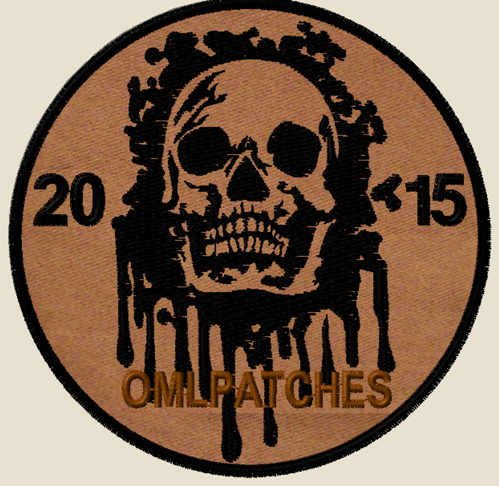 custom team morale patch blood skull on sheriff brown with black thread
