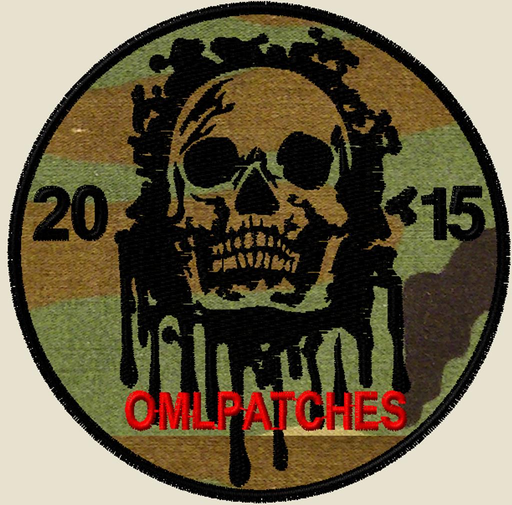 custom team morale patch blood skull on woodland, red thread