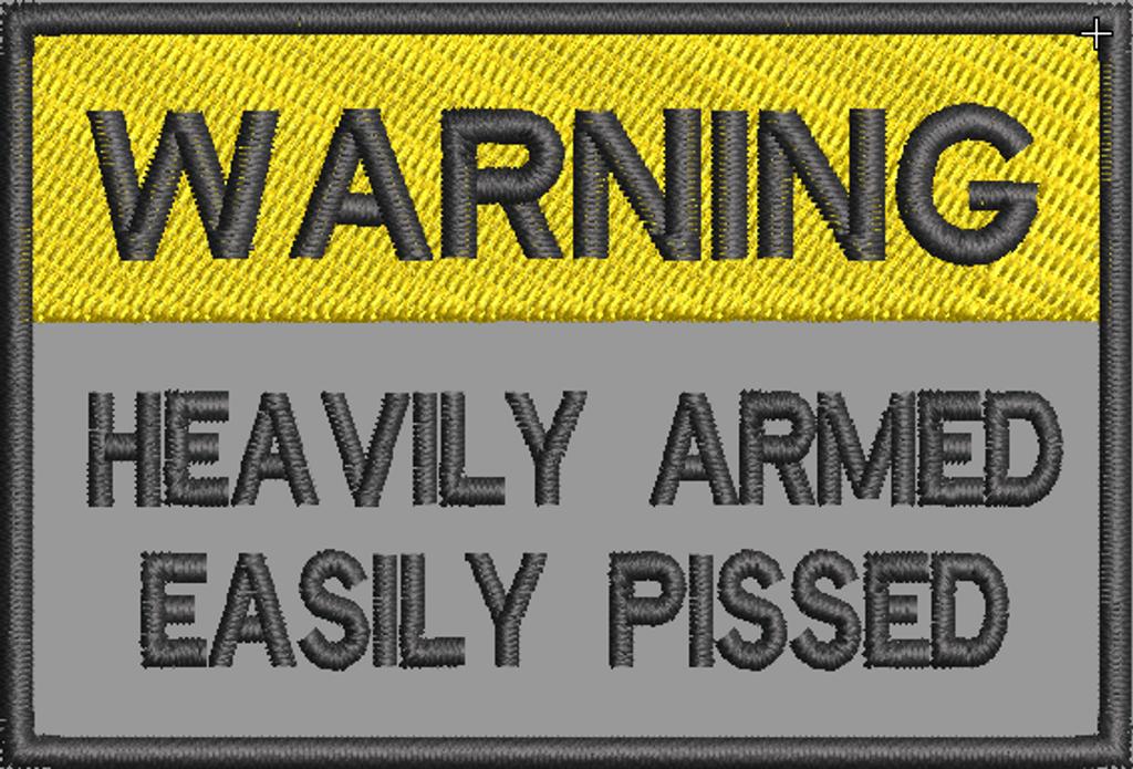 Warning Heavily armed on grey