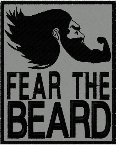 Fear the beard morale patch black on grey