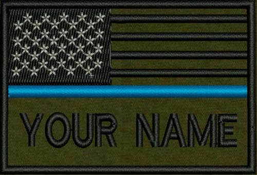 USA Blue Line flag patch with space for adding lettering in OD
