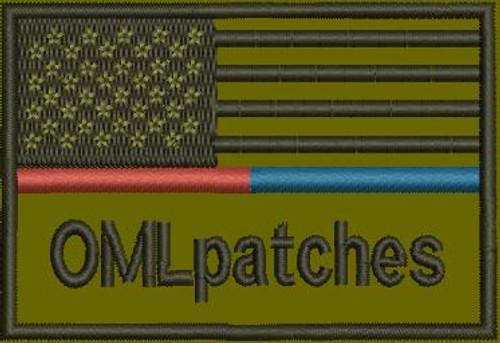 USA Red/Blue Line Custom Flag Patch