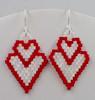 Double Heart Earrings Pattern - Increasing & Decreasing Brick Stitch - Instant Download Pattern