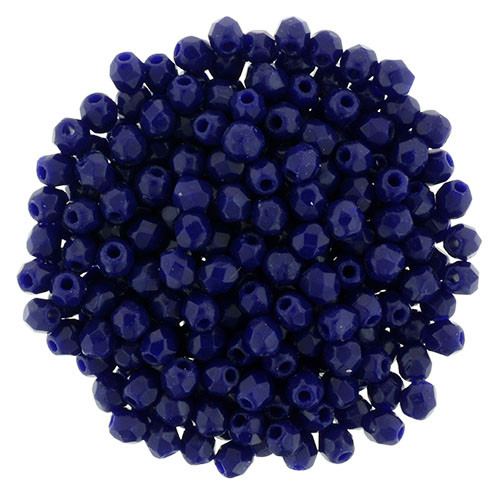 2mm Navy Blue Fire Polished Round Beads