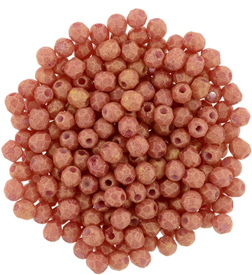 2mm Pacifica Strawberry Fire Polish Beads - 50pk