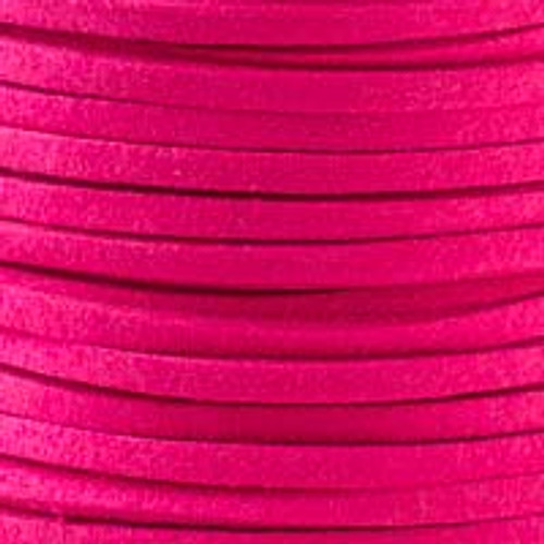 1.5mm thick 2mm wide hot pink microsuede cord