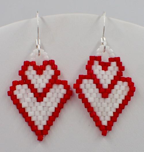 PRINTED Double Heart Earrings Pattern - Increasing & Decreasing Brick Stitch