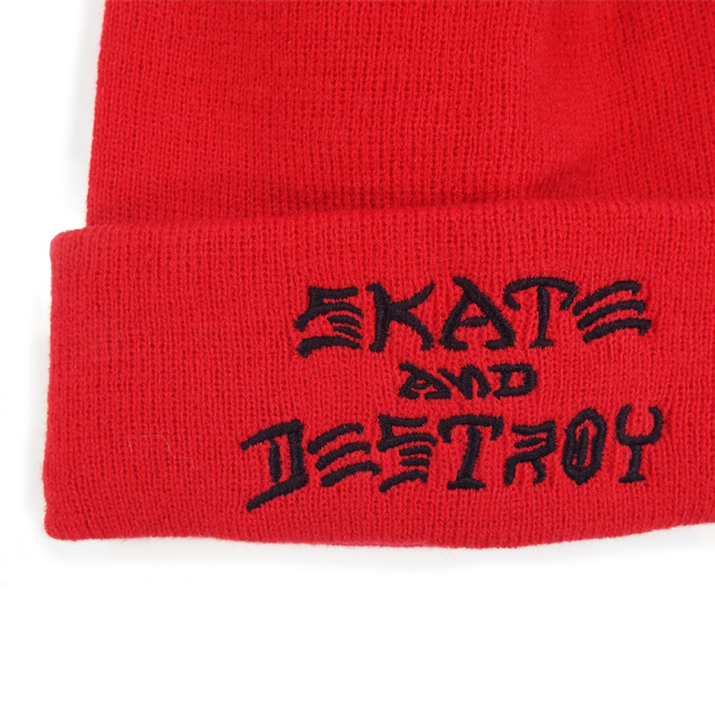 Thrasher Skate & Destroy Beanie - Red