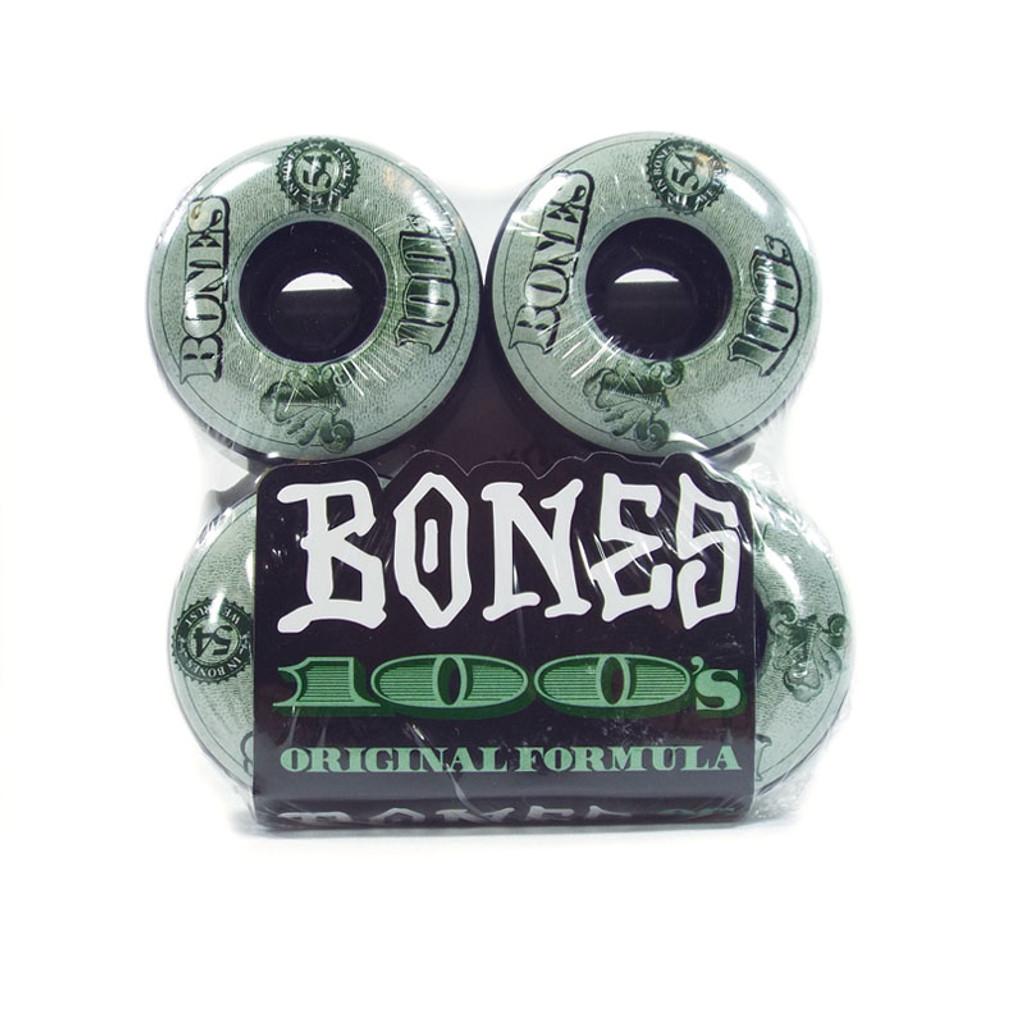 Bones 100 's Black OG Formula Skateboard Wheels - 54mm